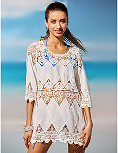 dear-lover Women's Solid Solid Crochet Halter Cover-Up Swimwear,Polyester Spandex White