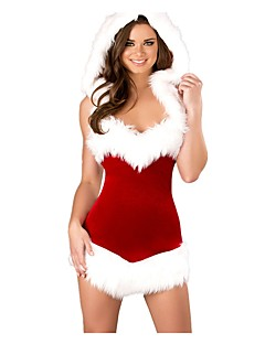 Santa Suits Mrs.Claus One Piece Dress Outfits Female Adults' Christmas Festival / Holiday Halloween Costumes Red Vintage