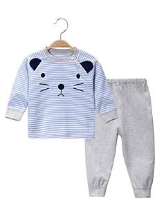 billige Sett med babyklær-Baby Børne Tøjsæt Afslappet/Hverdag Geometrisk, Bomuld Forår/Vinter Blå Grøn Lyserød