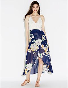 Χαμηλού Κόστους Μακριά φορέματα-Γυναικεία Παραλία Σιφόν Swing Φόρεμα - Φλοράλ Patchwork, Δαντέλα Σκίσιμο Μακρύ Ασύμμετρο Ψηλοκάβαλο Λαιμόκοψη V