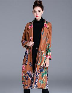 Dames Eenvoudig Informeel Herfst Trenchcoat,Dagelijks Effen Print Sjaalrevers Lange Mouw Lang Katoen Polyester
