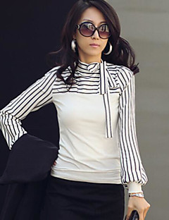 Women's Casual/Daily Simple T-shirt,Striped Standing Collar Long Sleeves Cotton