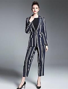 Damen Solide Gestreift Anspruchsvoll Lässig/Alltäglich Arbeit Anzug,Hemdkragen Herbst Lange Ärmel Standard Polyester