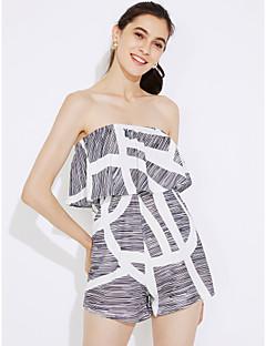 Χαμηλού Κόστους Off The Shoulders-Γυναικεία Καθημερινά / Κλαμπ Κομψό στυλ street Στράπλες Γκρίζο Ολόσωμα Στάμπα M L XL Ψηλοκάβαλο Αμάνικο Καλοκαίρι