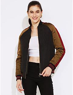 Damen Stickerei Einfach Street Schick Ausgehen Lässig/Alltäglich Jacke,Herbst Winter Rundhalsausschnitt Langarm Schwarz Mittel Polyester