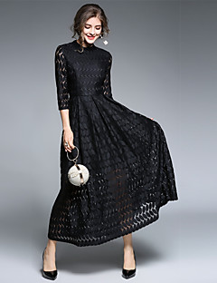 SUOQI Women's Party Casual/Daily Vintage Lace Swing Dress,Solid Crew Neck Maxi 3/4 Length Sleeves Polyester Fall High Rise Micro-elastic Medium