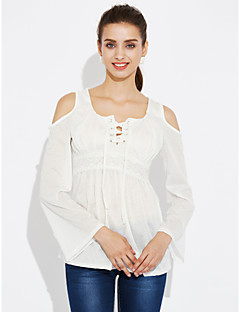 Women's Plus Size Going out Casual/Daily Sexy Simple Street chic Criss-Cross Lace All Match Spring Fall T-shirtSolid Round Neck Long Sleeve Medium