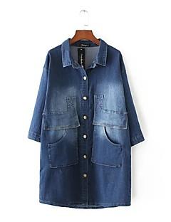 Damen Solide Einfach Ausgehen Lässig/Alltäglich Jeansjacke,Hemdkragen Frühling Herbst Lange Ärmel Lang Baumwolle Andere