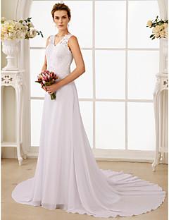 billiga A-linjeformade brudklänningar-A-linje V-hals Hovsläp Chiffong / Spets Bröllopsklänningar tillverkade med Bård / Applikationsbroderi av LAN TING BRIDE® / Öppen Rygg