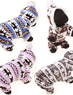 Dog Hoodie Jumpsuit Sweaters Winter Clothing Dog Clothes Casual/Daily Reindeer Gray Coffee Blue Pink Leopard