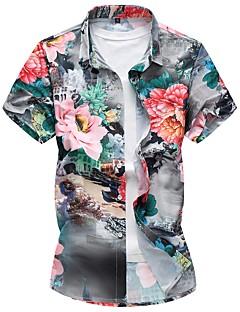 Bomull Polyester Medium Kortermet,Firkantet hals Skjorte Blomstret Sommer Høst Enkel Plusstørrelser Fritid/hverdag Herre
