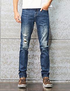 Pánské Jednoduchý Mikro elastické Džíny Kalhoty Rovné Štíhlý Mid Rise Ripped Patchwork Jednobarevné