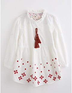 Girls' Embroidered Blouse,Cotton Fall Long Sleeve White