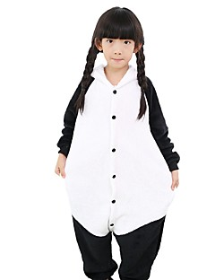 billige Kigurumi-Kigurumi-pysjamas Panda Onesie-pysjamas Kostume Flannelstoff Svart/Hvit Cosplay Til Barne Pysjamas med dyremotiv Tegnefilm Halloween