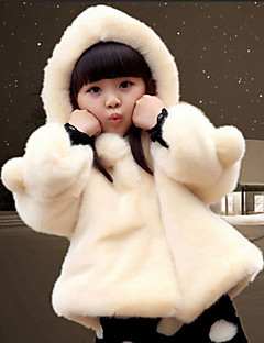 Girls' Solid Trench Coat,Cotton Rayon Fox Fur Winter Fall Long Sleeve Dresswear White Red Fuchsia