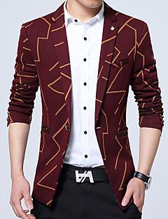 Erkek Pamuklu Polyester Uzun Kol V Yaka Sonbahar Kış Geometrik Basit Çalışma Büyük Beden Normal-Erkek Blazer