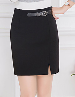 cheap Women's Skirts-Women's Plus Size Bodycon Skirts - Solid Colored Split