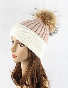 Donna Autunno Inverno Lana Acrilico Pelliccia di procione Cappelli Maglia A falda larga Cappello di lana,Monocolore Collage