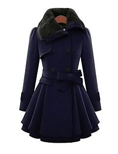Women's Daily Simple Casual Winter Fall Coat,Solid Peter Pan Collar Long Sleeve Long Cotton