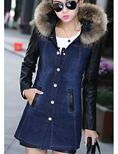 Women's Daily Going out Simple Casual Winter Fall Denim Jacket,Solid Hooded Long Sleeve Regular Cotton