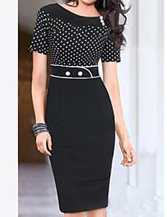 זול עליוניות וסטים לנשים-שחור גיזרה גבוהה עד הברך מנוקד - שמלה נדן כותנה סגנון רחוב עבודה בגדי ריקוד נשים