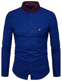 メンズ カジュアル/普段着 ワーク シャツ,シンプル 活発的 スタンドカラー 水玉 ポリエステル 長袖