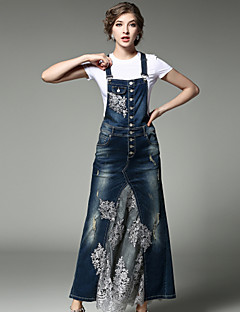 Women's Daily Going out Street chic Spring Fall T-shirt Skirt Suits,Embroidery Round Neck Short Sleeve Denim Jacquard Polyester Inelastic