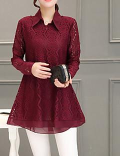 billige Plusstørrelser til kvinder på udsalg-Krave Dame - Ensfarvet / Houndstooth mønster Blonder I-byen-tøj Bluse / Efterår / Vinter