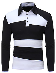 Men's Daily Going out Casual Chinoiserie Spring Fall Polo,Color Block Shirt Collar Long Sleeves Cotton