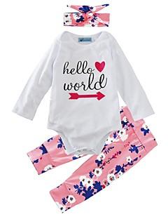 billige Sett med babyklær-Baby Pige Tøjsæt Indendørs udendørs Afslappet/Hverdag Blomstret, Bomuld Vinter Forår/Vinter Langærmet Blomster Hvid