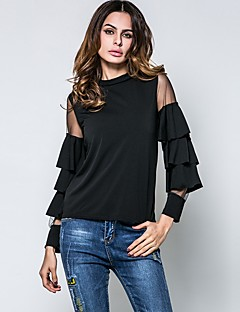 Women's Going out Casual/Daily Simple Spring Fall T-shirt,Solid Crew Neck Long Sleeves Cotton Rayon Thin