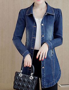 Women's Daily Simple Casual Winter Fall Denim Jacket,Solid Shirt Collar Long Sleeve Long Polyester