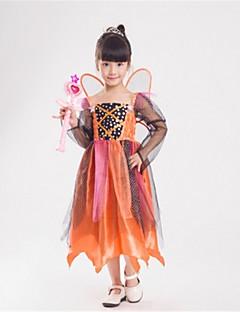 billige Halloweenkostymer-Prinsesse Eventyr Tingeling Cosplay Kostumer Barne Halloween Festival / høytid Halloween-kostymer Oransje Mote