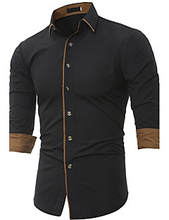 Men's Work Plus Size Casual Punk & Gothic Winter Fall Shirt,Solid Shirt Collar Long Sleeves Polyester Medium