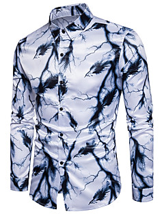 billige Herremote og klær-Bomull Tynn Klassisk krage Skjorte - Geometrisk, Trykt mønster Helg Herre