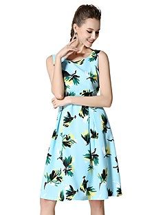 קיץ סתיו כותנה ללא שרוולים עד הברך צווארון עגול פרחוני פשוטה סגנון רחוב יום יומי\קז'ואל ליציאה שמלה גזרת A נשים,גיזרה גבוהה מיקרו-אלסטי