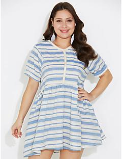 billige Lagersalg-Dame A-linje Kjole - Stripet, Trykt mønster Ovenfor knéet