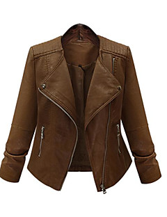 Women's Holiday Punk & Gothic Fall Winter Leather Jacket,Solid Round Neck Long Sleeve Regular Others
