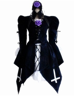 Gothic Lolita Dress Classic Lolita Dress Punk One Piece Dress Cosplay Black Stripe Stitching Lace Puff/Balloon Long Sleeves