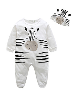 Baby Einzelteil Tiermuster Druck 100% Baumwolle Herbst Lange Ärmel