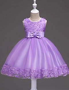 Princess Knee Length Flower Girl Dress - Satin Sleeveless Jewel Neck by Bflower