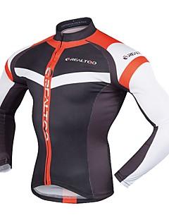 Realtoo サイクリングジャージー 男性用 長袖 バイク ジャージー 速乾性 通気性 耐紫外線 ライトウェイト ポリエステル100% 秋 春 サイクリング
