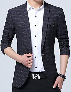 Erkek Pamuklu Uzun Kol V Yaka Sonbahar Ekose Basit Günlük/Sade Çalışma Normal-Erkek Blazer