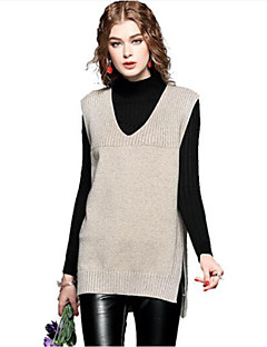 cheap Women's Sweaters-Women's Going out Sleeveless Cashmere Cotton Long Vest - Solid Colored V Neck