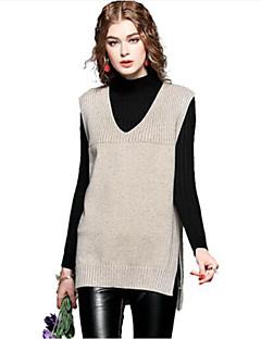 baratos Suéteres de Mulher-Mulheres Para Noite Sem Manga Cashmere / Algodão Longo Colete - Sólido Cashmere / Algodão / Decote V / Outono
