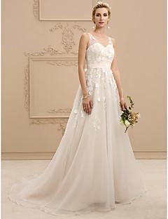 billiga Brudklänningar-A-linje / Prinsessa V-hals Hovsläp Organza / Blomsterspets Bröllopsklänningar tillverkade med Rosett(er) / Skärp / Band av LAN TING BRIDE® / Brudklänning i färg / Öppen Rygg