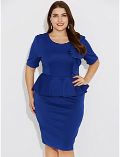 billige Plusstørrelser til kvinder på udsalg-Dame Plusstørrelser I-byen-tøj / Arbejde Gade Tynd Bodycon Kjole - Ensfarvet, Krøllede Folder Knælang Blå