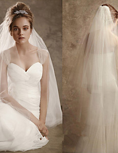 Two-tier Cut Edge Wedding Veil Blusher Veils Elbow Veils With Ruffles Tulle
