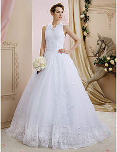 Ball Gown Halter Sweep Brush Train Lace Tulle Wedding Dress With Sequin Appliques Crystal Detailing