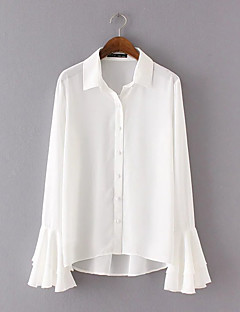 Women's Daily Holiday Casual Street chic Shirt,Solid Shirt Collar Long Sleeves Polyester